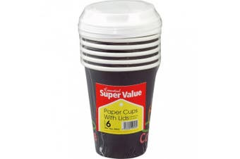 Essential Disposable Paper Cups & Lids (Pack Of 6) (Black/White) (One Size)