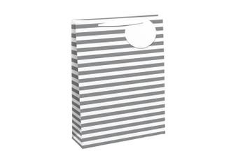 Eurowrap Striped Gift Bags (Pack of 6) (White/Silver) (M)