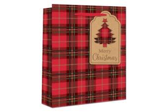 Eurowrap Christmas Tartan Gift Bags (Pack of 12) (Red) (Perfume)