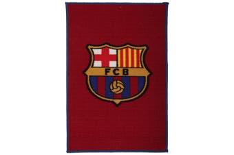 FC Barcelona Official Football Floor Rug/Mat (Burgundy/Blue) (50cm x 80cm)