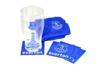 Everton FC Official Wordmark Mini Football Bar Set (Pint Glass, Towel & Beer Mats) (Blue/Clear) (One Size)