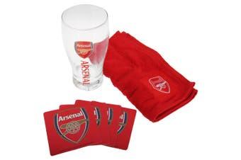 Arsenal FC Official Wordmark Mini Football Bar Set (Pint Glass, Towel & Beer Mats) (Red) (One Size)
