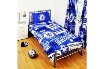 Chelsea FC Childrens/Kids Official Patch Football Crest Duvet Set (Blue) - UTSG3549