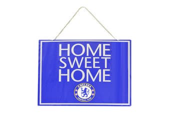Chelsea FC Official Metal Home Sweet Home Football Crest Sign (Blue) (One Size)
