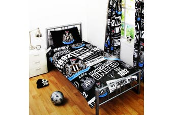 Newcastle United Childrens/Kids Official Patch Football Crest Duvet Set (Black) (Double)
