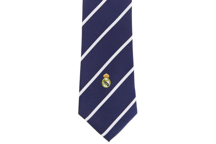 Real Madrid CF Mens Official Striped Football Crest Neck Tie (Blue/White) (One Size)