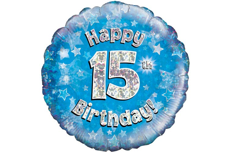 Oaktree 18 Inch Happy 15th Birthday Blue Holographic Balloon (Blue/Silver) (One Size)