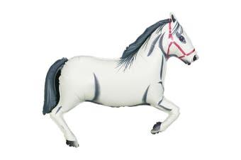 Oaktree Metallic 43 Inch White Horse Design Balloon (White/Black/Red) (One Size)