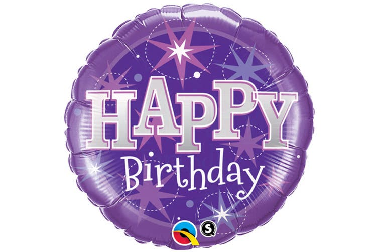 Qualatex 18 Inch Round Purple Happy Birthday Sparkle Foil Balloon (Purple/Silver) (One Size)