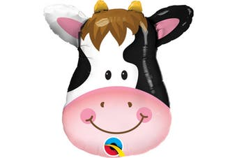 Qualatex Cow Shaped Foil Balloon (White/Black/Pink) (32 Inch)