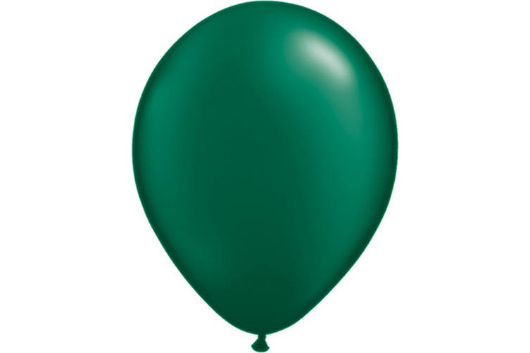 Qualatex 11 Inch Round Plain Latex Balloons (100 Pack) (Pearl Forest Green) (One Size)