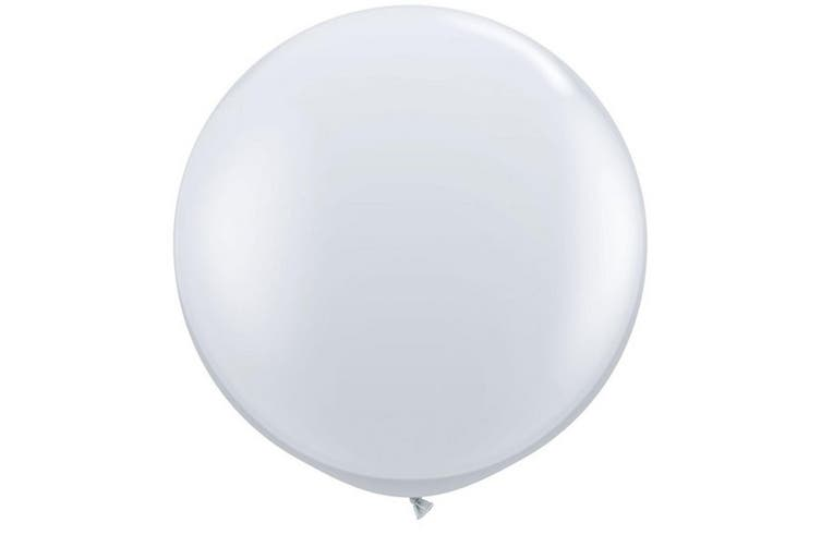 Qualatex 3 Ft Round Plain Latex Balloons (2 Pack) (Diamond Clear) (One Size)