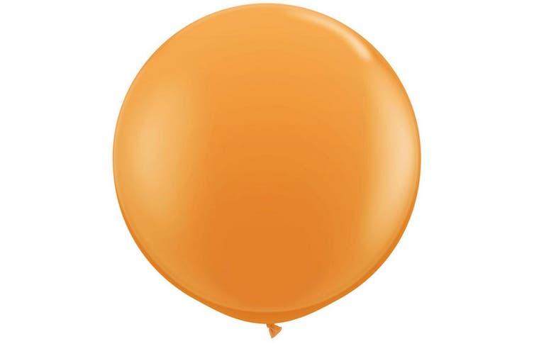 Qualatex 3 Ft Round Plain Latex Balloons (2 Pack) (Orange) (One Size)