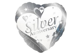 Creative Party 18 Inch Silver Anniversary Foil Balloon (Silver/White) (One Size)