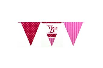 Creative Party Perfectly Pink Happy 21st Birthday Bunting (Pink/Red/White) (One Size)