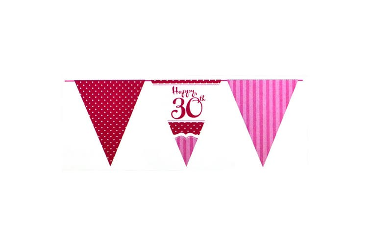 Creative Party Perfectly Pink Happy 30th Birthday Bunting (Pink/Red/White) (One Size)