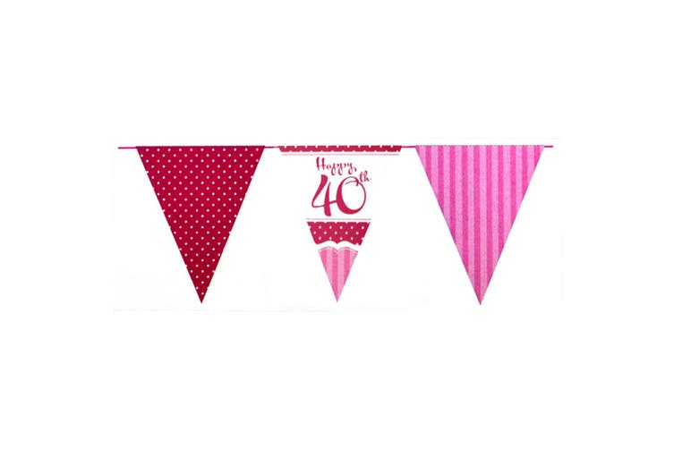 Creative Party Perfectly Pink Happy 40th Birthday Bunting (Pink/Red/White) (One Size)