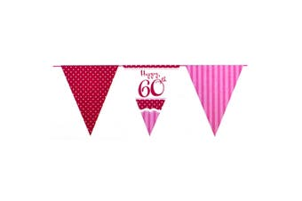 Creative Party Happy 60th Birthday Bunting (Pink/Red/White) (One Size)