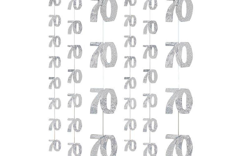 Unique Party Silver 70th Birthday/Anniversary Hanging String Decorations (Silver) (One Size)