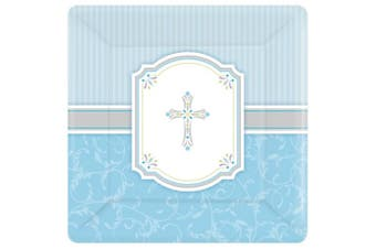 Amscan Communion Blessing Square Paper Plates (Blue/White) (One Size)