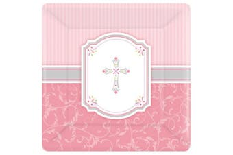 Amscan Communion Blessing Square Paper Plates (Pink/White) (One Size)