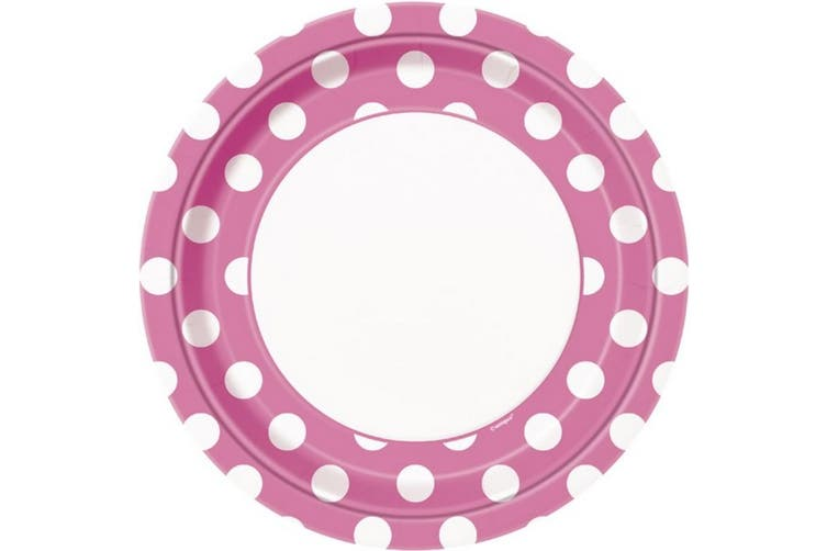 Unique Party Polka Dot Paper Plates (Pack Of 8) (Hot Pink/White) (One Size)