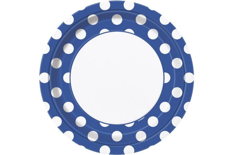 Unique Party Polka Dot Paper Plates (Pack Of 8) (Royal Blue/White) (One Size)