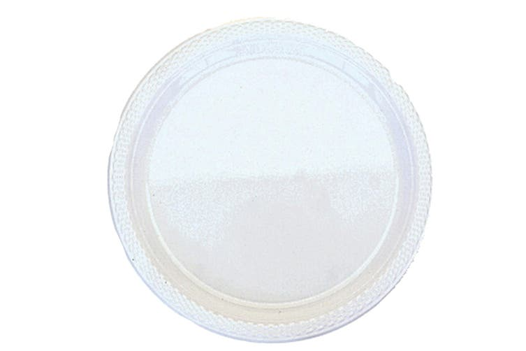Amscan Plastic Block Colour Party Plates (Set Of 20) (Frosty White) (One Size)