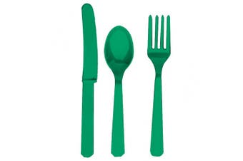 Amscan Plastic Party Cutlery Set (Knives, Forks & Spoons) (Set Of 24) (Festive Green) (One Size)