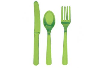 Amscan Plastic Party Cutlery Set (Knives, Forks & Spoons) (Set Of 24) (Kiwi Green) (One Size)