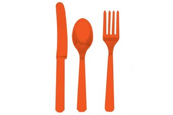 Amscan Plastic Party Cutlery Set (Knives, Forks & Spoons) (Set Of 24) (Orange Peel) (One Size)