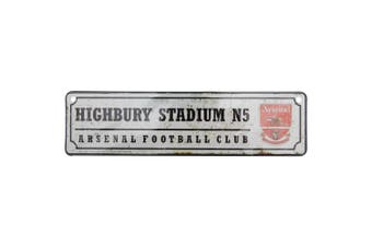 Arsenal FC Official Retro Highbury Stadium Football Crest Bedroom Window Sign (White/Red) (One Size)