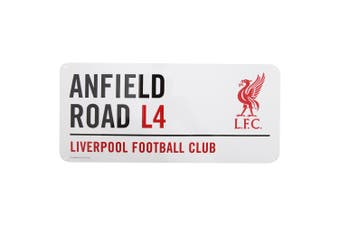 Liverpool FC Official Anfield Road Football Crest Street Sign (White/Black/Red) (One Size)