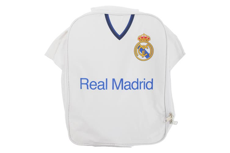 Real Madrid FC Childrens Boys Official Insulated Football Shirt Lunch Bag/Cooler (White) (One Size)