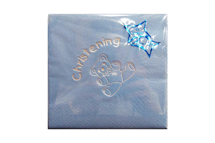 NPK Christening Foil Printed Napkins (Pack Of 15) (Blue) (One Size)