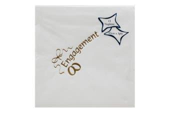 NPK Engagement Design Foil Printed Napkins (Pack Of 15) (Gold) (One Size)