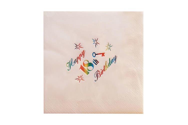 NPK 18th Birthday Foil Printed Napkins (Pack Of 15) (White) (One Size)