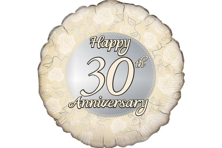 Oaktree 18 Inch Circle Happy 30th Anniversary Foil Balloon (Gold/Silver) (18in)