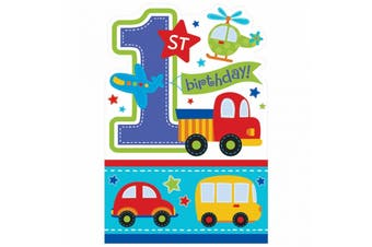 Amscan All Aboard 1st Birthday Boy Die-Cut Postcard Party Invites (Blue/White) (One Size)