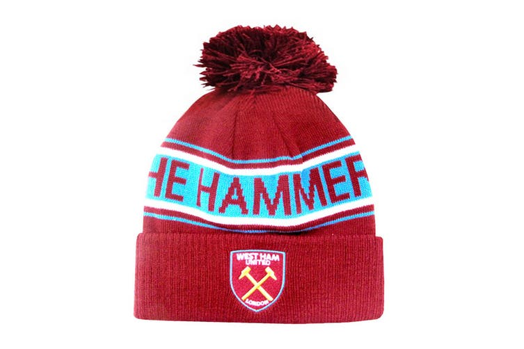 West Ham FC Adults Official Hammers Knitted Winter Football Crest Hat (Claret/Blue) (One Size)