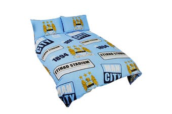 Manchester City FC Official Patch Football Crest Duvet Cover Bedding Set (Sky Blue) (Double Bed)