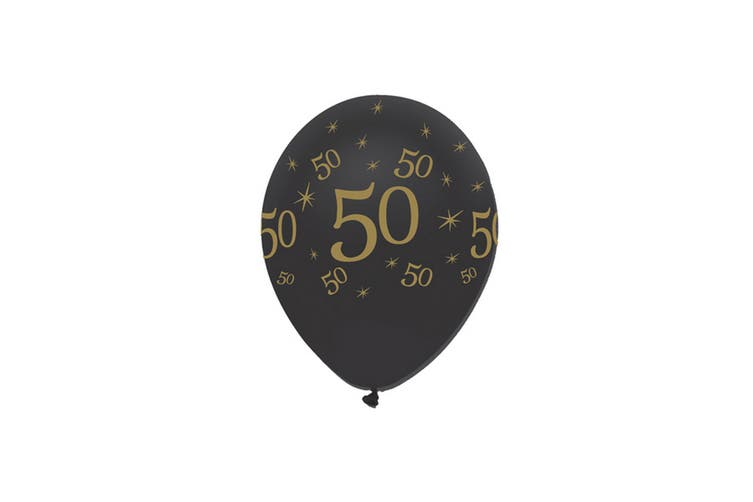 Creative Party Black All Round Print Latex Balloons (Pack of 6) (Black/Gold) (50 Years)
