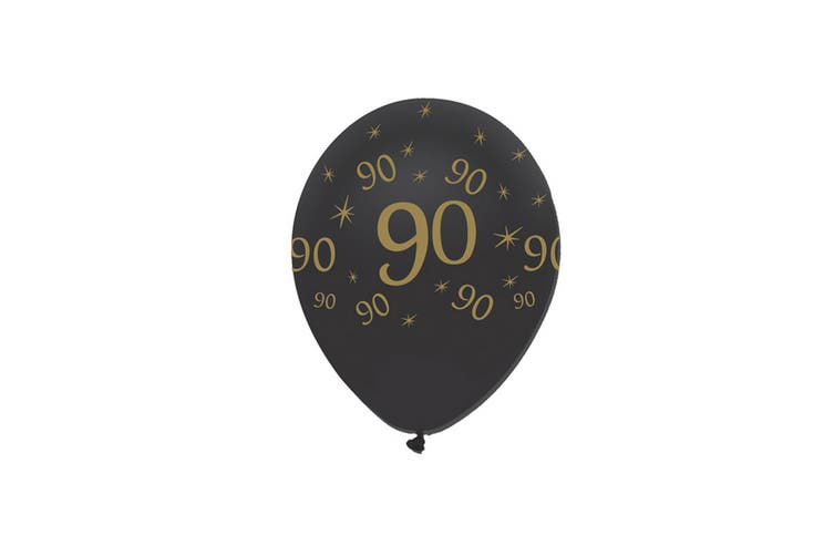 Creative Party Black All Round Print Latex Balloons (Pack of 6) (Black/Gold) (90 Years)
