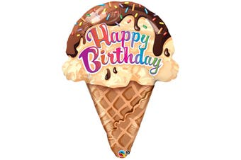 Qualatex 27 Inch Your Happy Birthday Ice Cream Cone Design Foil Balloon (Brown) (One Size)