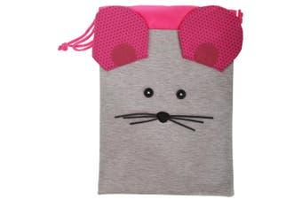 Childrens/Kids 3D Animal Design Drawstring Lunch Bag (Grey/Pink) (One Size)