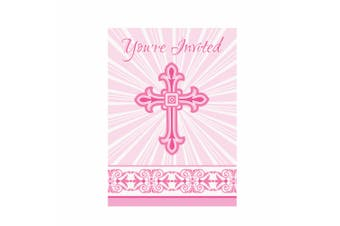 Unique Party Radiant Cross Paper Design Christening Party Invites (Pack Of 8) (White/Pink) (One Size)