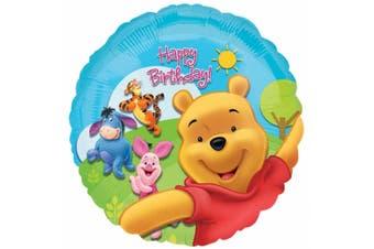 Anagram 18 Inch Disney Winnie The Pooh Happy Birthday Circular Foil Balloon (Multicoloured) (One Size)