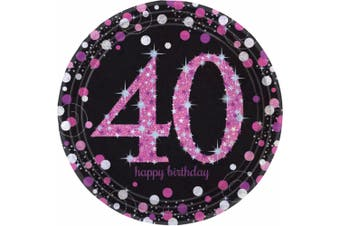 Amscan Sparkling Celebration 40th Birthday Party Plates (Pack of 8) (Black/Pink) (One Size)