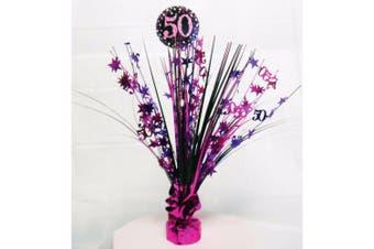 Amscan Sparkling Celebration 50th Birthday Centrepiece Spray Decoration (Pink) (One Size)