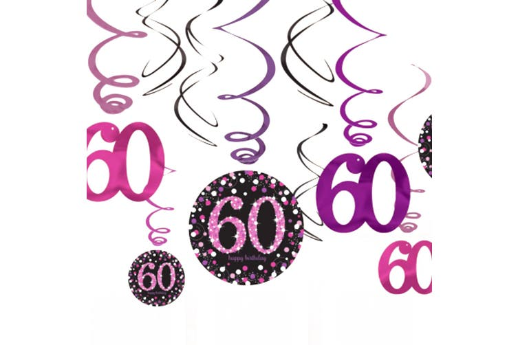 Amscan Sparkling Celebration 60th Birthday Swirl Decorations (Pack of 12) (Black/Pink) (One Size)